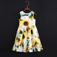 Summer kids girl sunflower sleeveless Fishtail skirt children family clothes mom girls beach dress mother daughter fashion dress