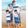 Bohemia mother and daughter dresses matching family clothes father son shirts family look girl mother cotton striped beachwear