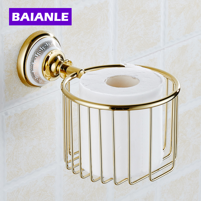 Toilet Paper Roll Holder Shelf Basket Holder Storage Basket Rack copper Gold/Chrome Finish Bathroom Accessories luxury bathroom toilet paper holder copper antique toilet paper rolls bathroom paper storage basket bathroom accessories