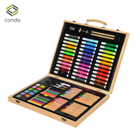 Conda 132pcs/set Deluxe Wood Art Set for Kids in Wooden Case Children Students Art Supplies Oil Painting Stick Paint Brush