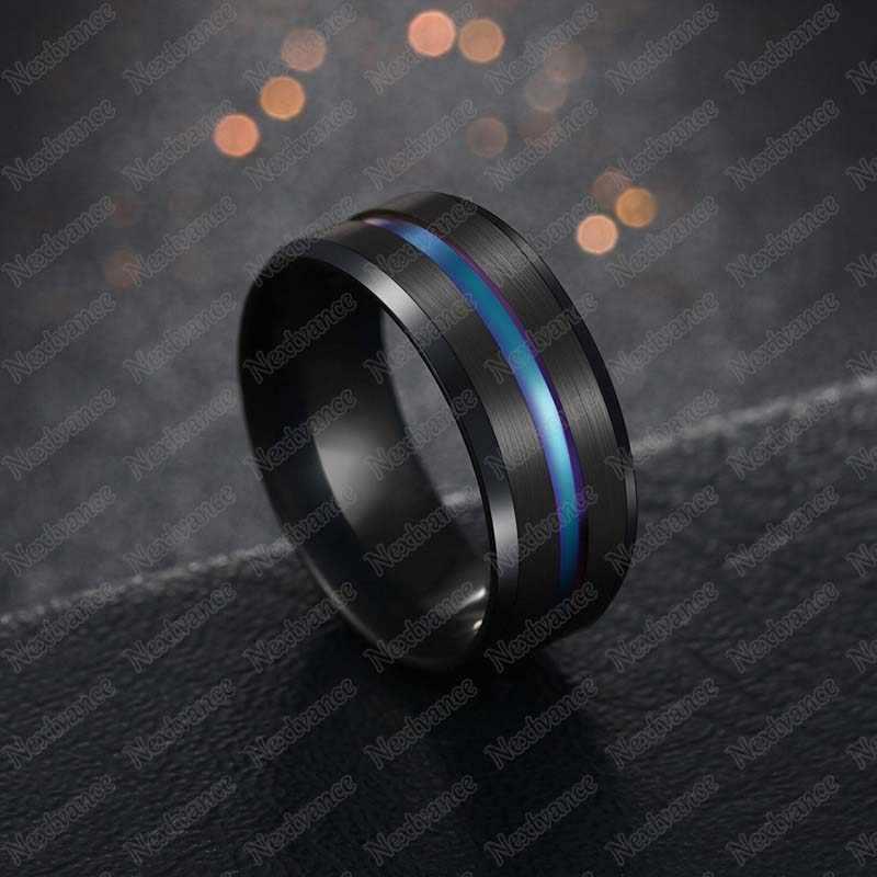 Nextvance Trendi 8 Mm Stainless Steel Hitam Biru Alur Cincin untuk Pria Pernikahan Band Pelangi Cincin Pria Perhiasan Drop Pengiriman
