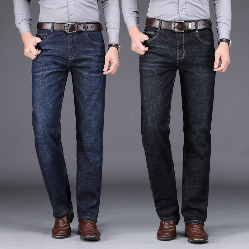2019 Fashion Smart Men Jeans Straight Fit Casual Business Jeans Men Elastic High Waist Classical Jeans Hombre Denim Long Pants
