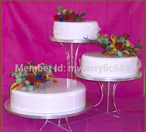 3 Tier Acrylic Bracket Birthday Wedding Cake Stand Pastry Serving