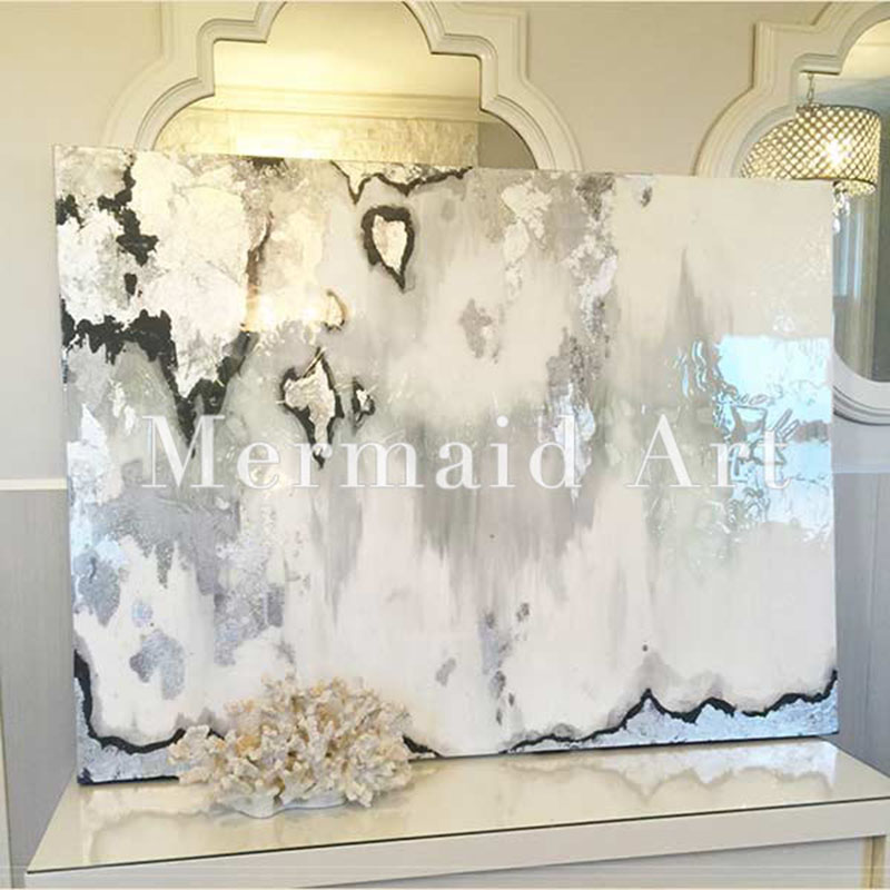 Handpainted Abstract Silver Leaf Art With Gray And White