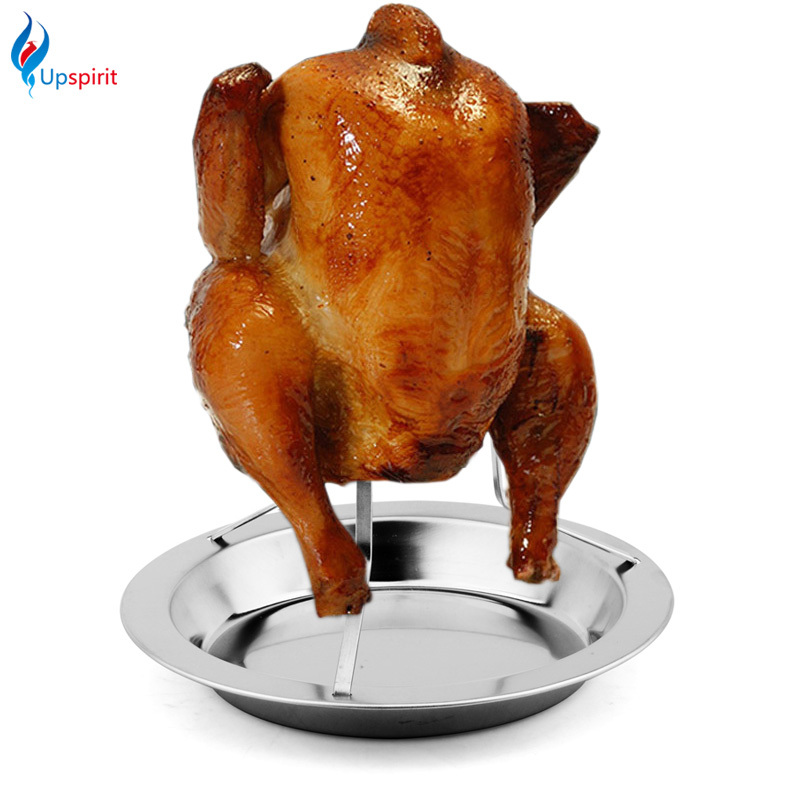 Stainless Steel Upright Beer Chicken Holder Chicken Roaster Rack Silver Baking Pan Grilled Roast Rack For Outdoor Camping & BBQ