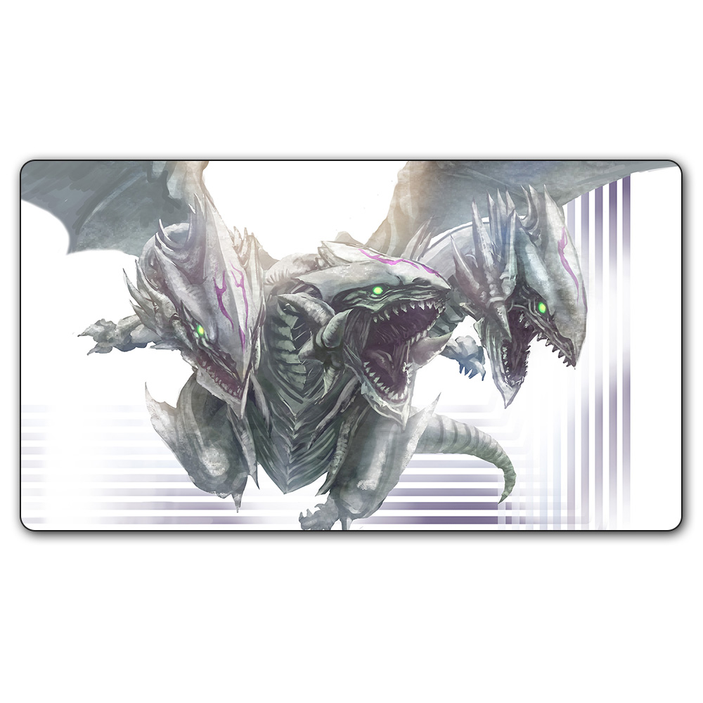(#58 YGO Playmat) 14x24 Inches YU-GI-OH 2 Head Dragons Play Mat Board Games YGO Card Games Table Pad with Free Gift Bag