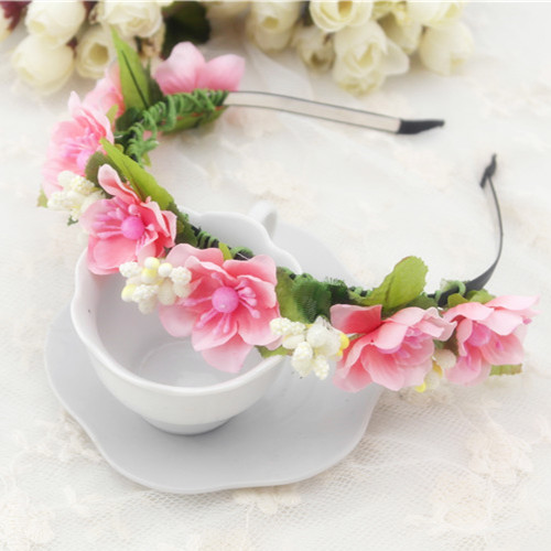 2015 New Style Flower Garland Floral Bride Headband Hairband Wedding Party Prom Festival Decor Princess Floral Wreath