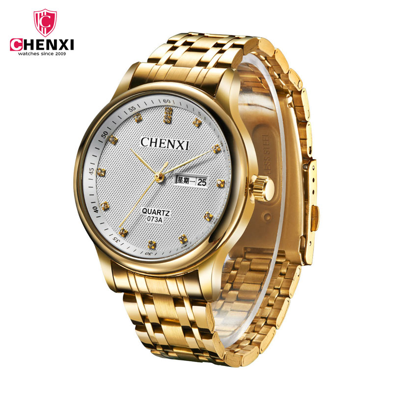 CHENXI Watch Quartz Golden-Date Luxury 47 3-Colors Erkekler Saat Hombire Reloj