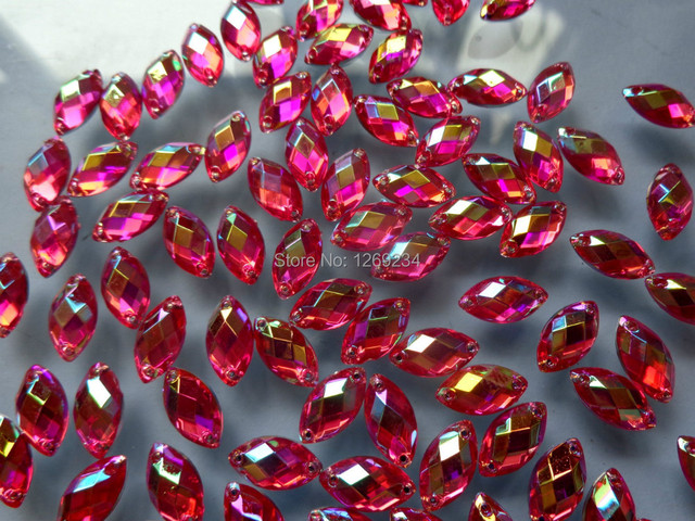 Rose Red AB Navette 250pcs 6 12mm Acryl crystal sew on loose beads  rhinestone accessory stone flat back hand sewing for dress 7534bc1bdaa4