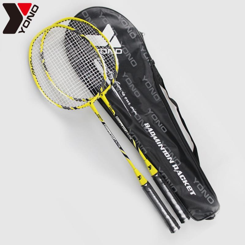 2 paire/lot lYONO En alliage D'aluminium Professionnel Étudiants Débutant Badminton Raquettes Lumière Poids Sport Badminton Raquettes Avec Sac