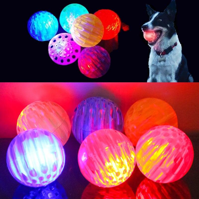 Flash LED Dog Balls Round Bite-resistant Elastic Random Color Durable 1Pcs Dog Luminous Ball Interactive Dog Toys
