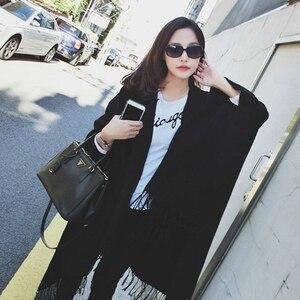 Image 2 - Women Winter Cashmere Poncho Cape Elegant Black Warm Scarves Fashion Vintage Pashmina Long Shawl Women Poncho Cape