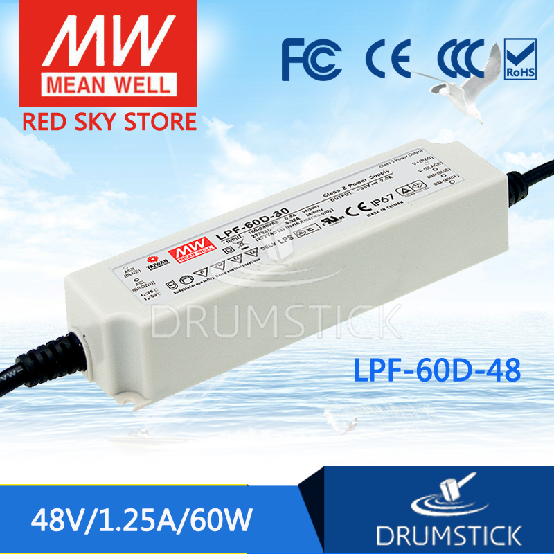Hot sale MEAN WELL LPF-60D-48 48V 1.25A meanwell LPF-60D 48V 60W Single Output LED Switching Power Supply цена