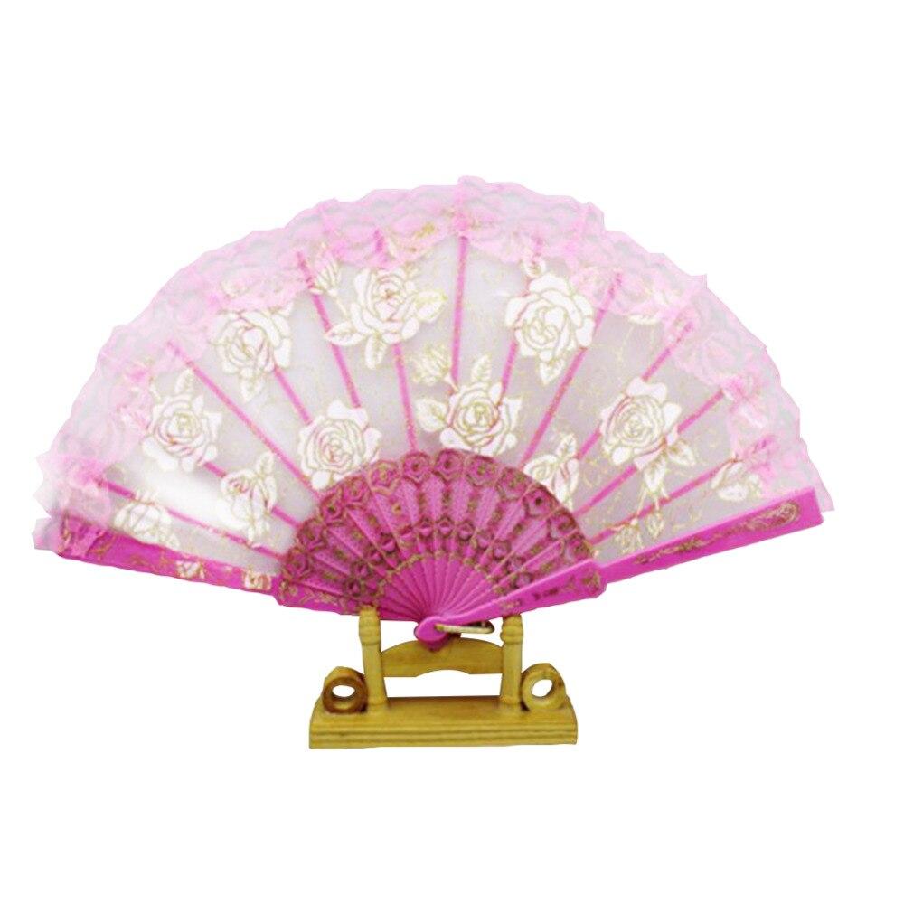 1Pc Handmade Lace Folding Hand Fan Chinese Fan dance Party Bridal ...