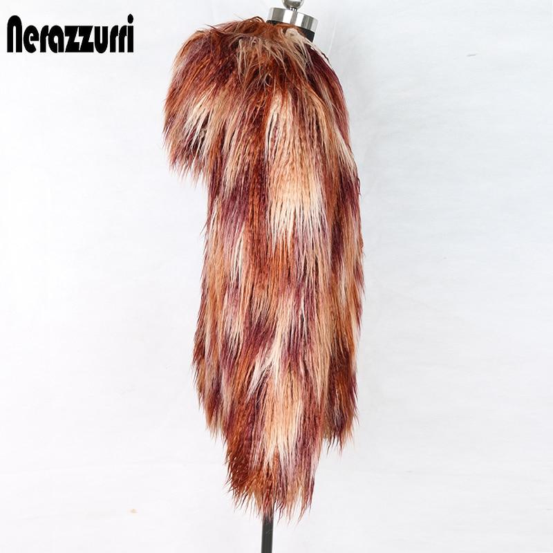 Nerazzurri Winter Faux Fur Coat Women With Hood Zipper Multi Color Hairy Furry Warm Plus Size Fake Mongolian Lamb Fur Jacket 5xl