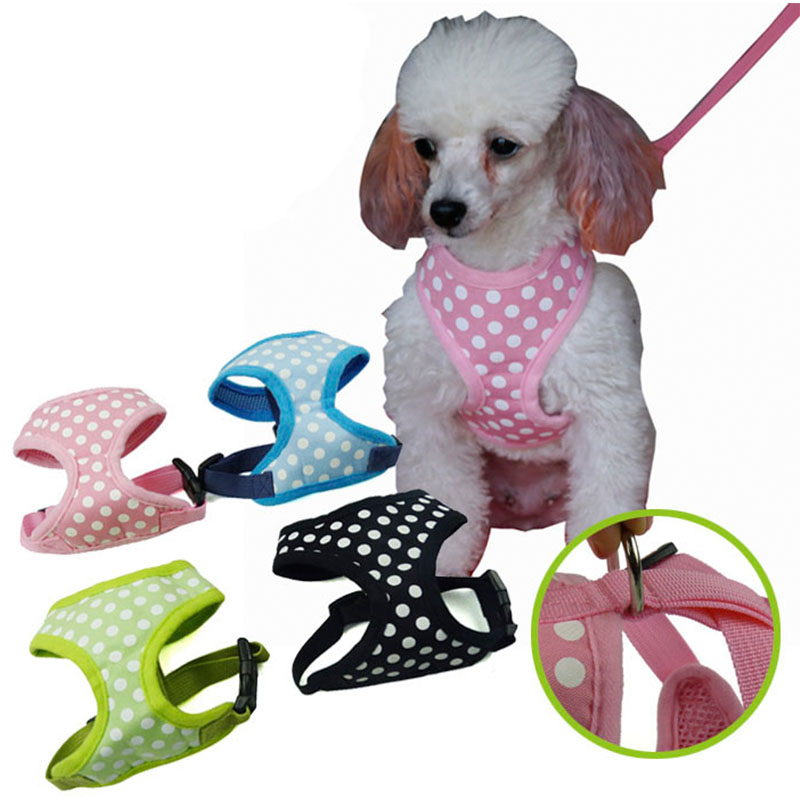 Soft Breathable Mesh Pet Dog Harness Vest With Polka Pot Print For
