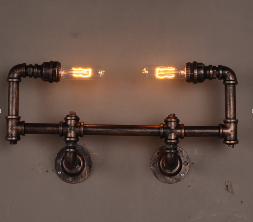 New American Vintage Aisle Industrial Water Pipe Wall Lamp Lights Bar Restaurant Edison Bulb Retro Wall Lamp Light loft american village industrial iron wall lamp edison bulb retro wall light bar cafe restaurant aisle lights ems free shipping