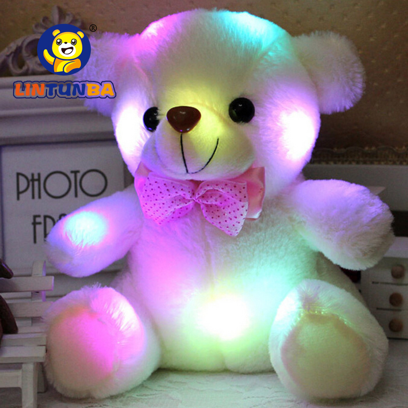 BSTAOFY Dropshipping 20CM LED Colorful Glowing Luminous Plush Baby Toys Lighting Stuffed Bear Teddy Bear Lovely Gifts for Kids(China)