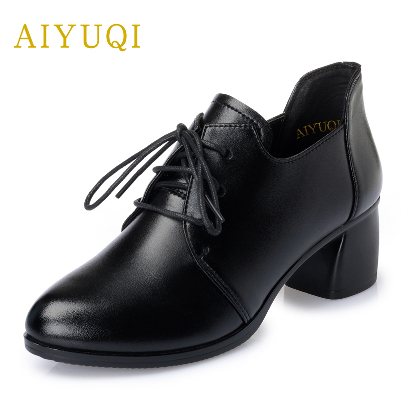 AIYUQI spring new genuine leather women shoes with thick with non-slip lace comfortable mother hand-made women's singles shoes aiyuqi 2018 new spring genuine leather female comfortable shoes bow commuter casual low heeled mother shoes woeme