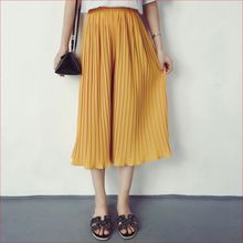 Spring Summer Style Pants New High Waist Pleated Chiffon Wide Leg Pants Elastic Casual Loose Pants Thin Cropped Trousers Women