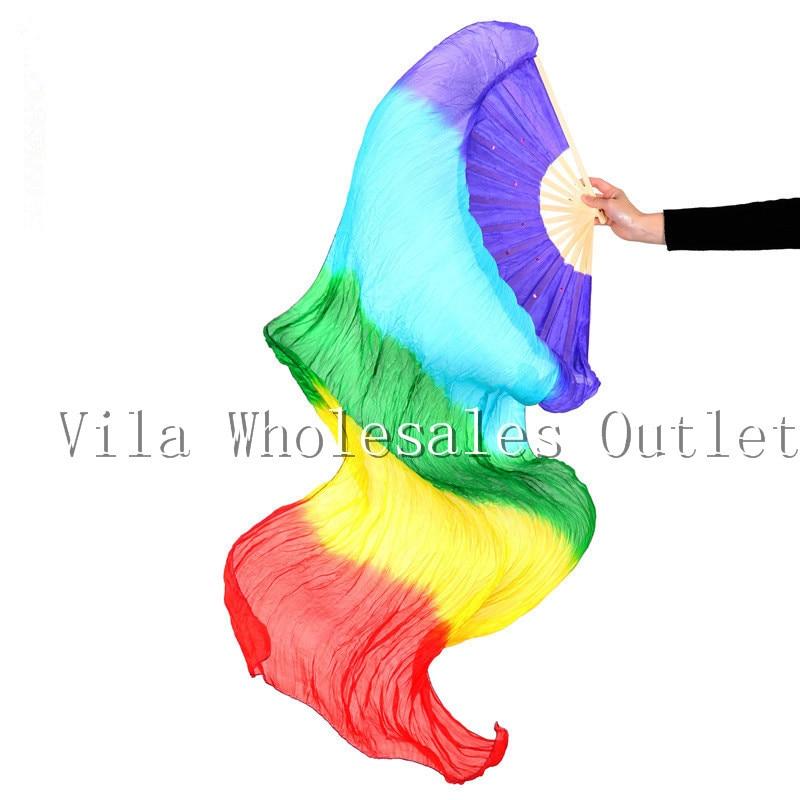 Belly Dance Fan Costume Women Dance Free Shippng 100 % Real Silk Belly Dance Silk Fan Veils From China, 2015 New Silk Veils