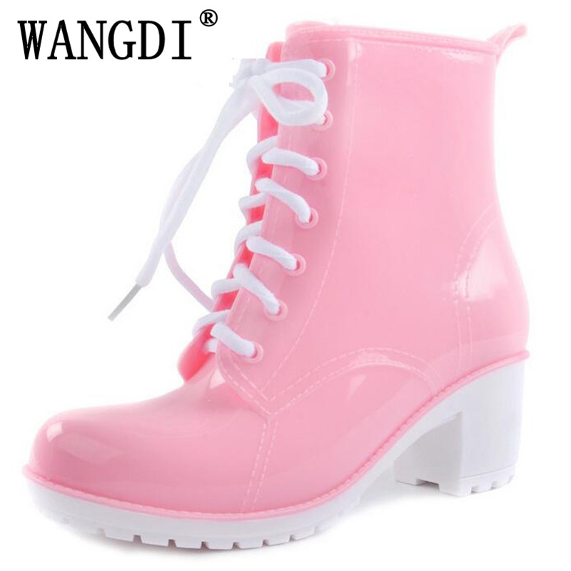 2017 NEW Rain Boots Women Ankle Boots Platform High Heels Rubber Shoes Woman Lace Up Rain boots Candy Color Size 36-41