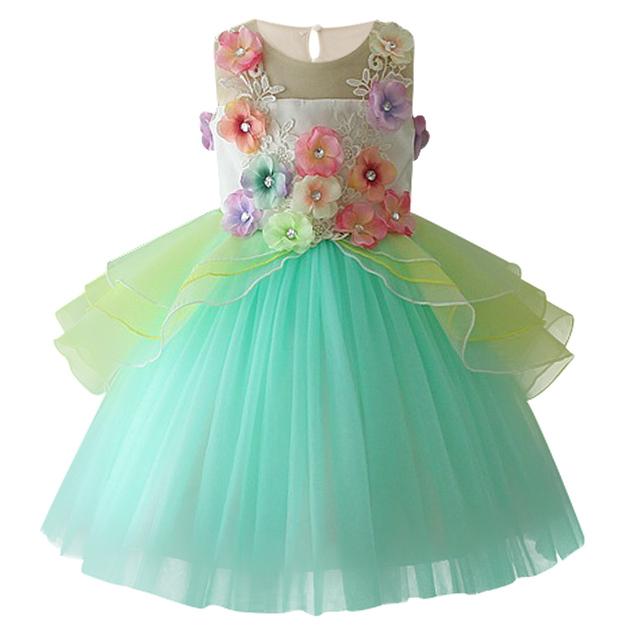 ec9ee2c0324f6 2019 new children's dress colorful lace applique princess dress ...