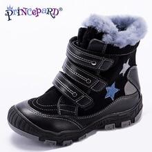 Princeprd 2018 новая зимняя детская ортопедическая обувь для мальчиков и девочек 100% Шевро natral меха Звезда узор orhopedic обувь для детей