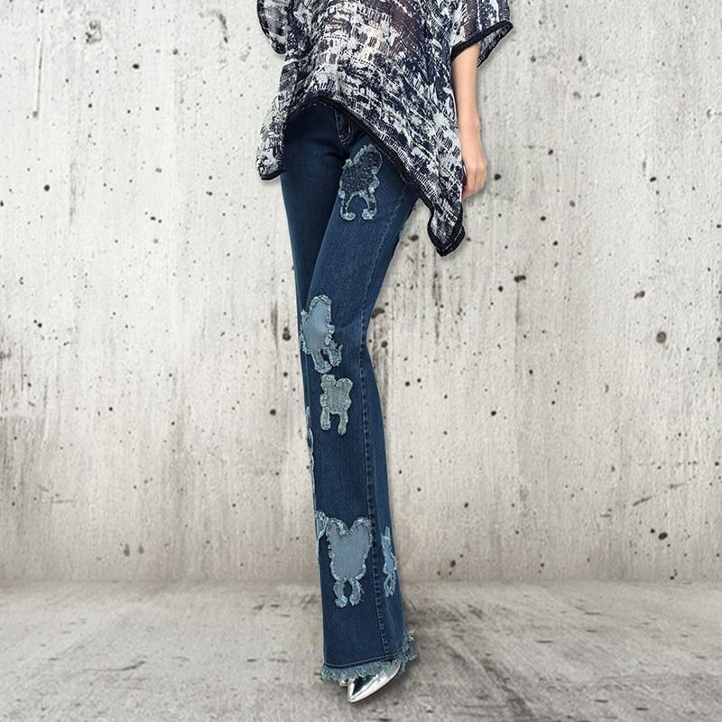 2016 European New Fashion Autumn Slim Woman Jeans Elastic Wide Leg Female Denim Jeans Full Length