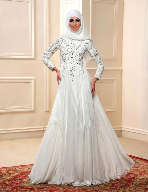 New Hijab Long Sleeves Arabic Wedding Gown Satin 2016 A Line Muslim Dresses Robe
