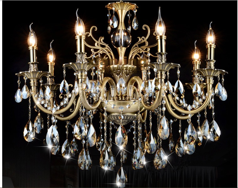 free shipping 6 lights bronze color crystal chandelier light fixture brass finish crystal lustre. Black Bedroom Furniture Sets. Home Design Ideas