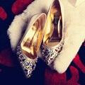 2016 новая зимняя каблуки цвет diamond princess тонкой ручной работы из бисера с Корейских женщин обувь мелкая рот