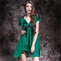 Зеленый Тонкий Женщин Качества Шелковой Атласной Кружева Сексуальная Ночная Рубашка Пижамы Женский Шелковый Халат Twinset Гостиная Набор Ночная Рубашка Слинг Пижамы