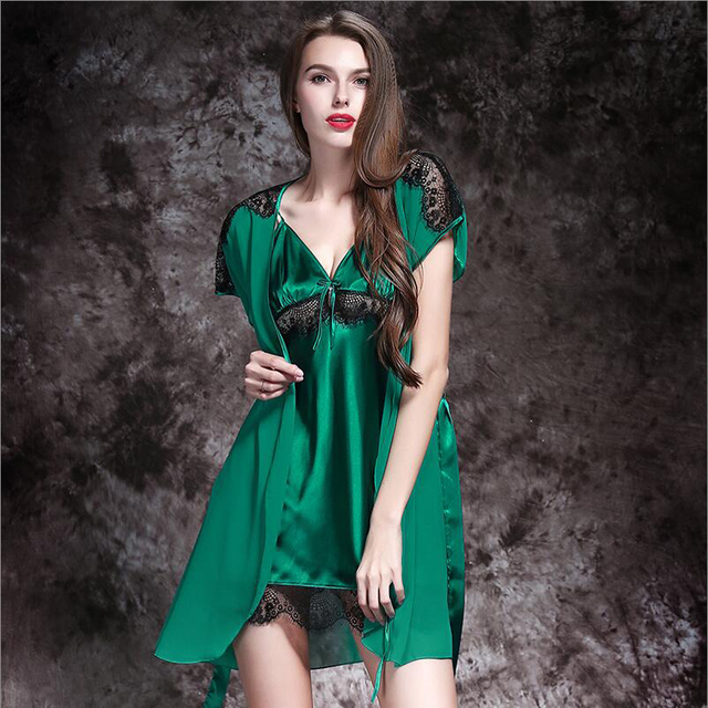 5d76b49270 Green Thin Women Quality Silk Satin Lace Sexy Nightgown Sleepwear Female Silk  Robe Twinset Lounge Set
