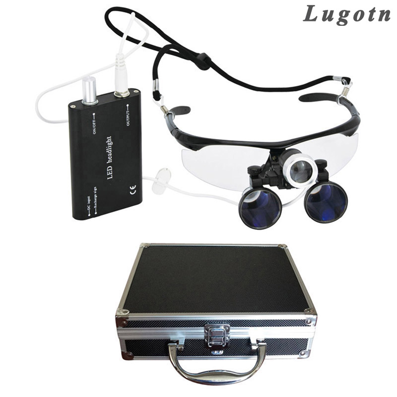 Metal box 3 5X magnification oral dental loupe with led medical headlight operation loupe surgical enlarger