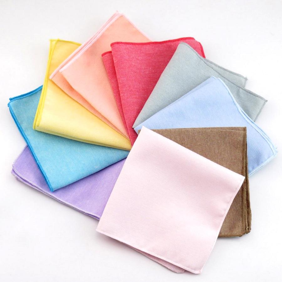 New Cotton Handkerchiefs Fashion Solid Colour Hanky For Men Business Casual Pockets Square Handkerchief Wedding Hankies Cravat