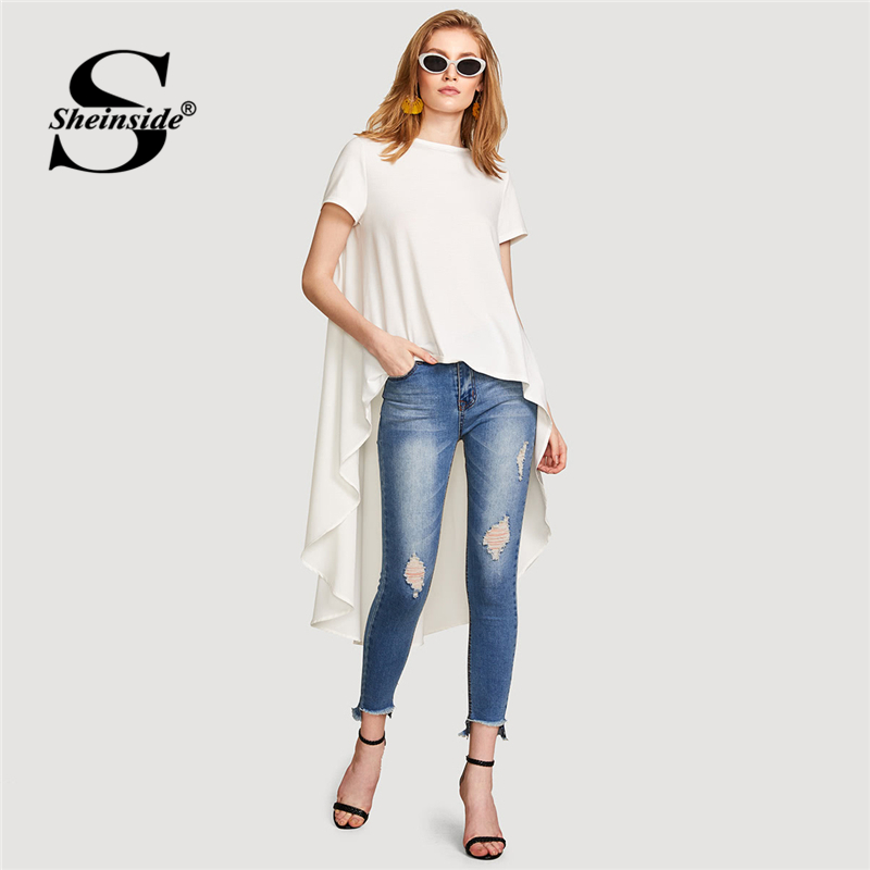 Sheinside High Low Solid Tee Women Asymmetrical Beige Short Sleeve Round Neck Top 2018 Summer New Loose Casual T-shirt