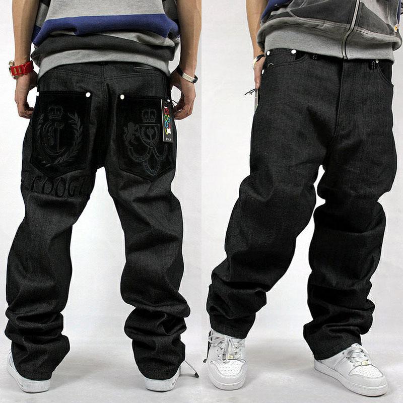 2019 Loose Hip Hop Jeans Men Printed Jeans Men's Dress Big Yards Tide Straight Trousers Hip-hop HIPHOP Hip-hop Clothing Flocking