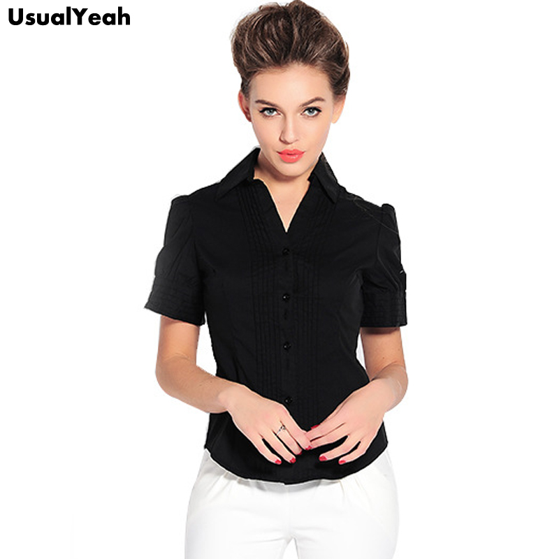d654a99afb US $15.99 20% OFF|Pleated Dressy Women Blouses V Neck Solid Color Blouse  Short Sleeve Shirt Slim Tops Black Blue White Ladies Office Shirt-in  Blouses ...