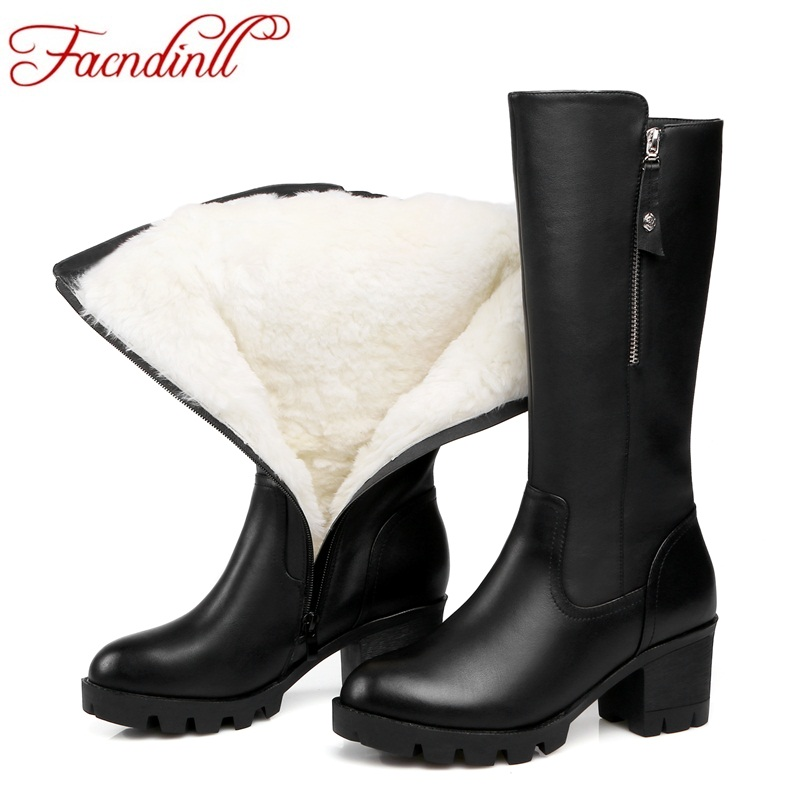 FACNDINLL fashion women knee high boots new genuine leather plush high heels platform black zipper shoes woman winter snow boots woman real leather boots 2015 new winter boots black apricot zipper fashion martin boots 34 39 comfortable women knee high boots