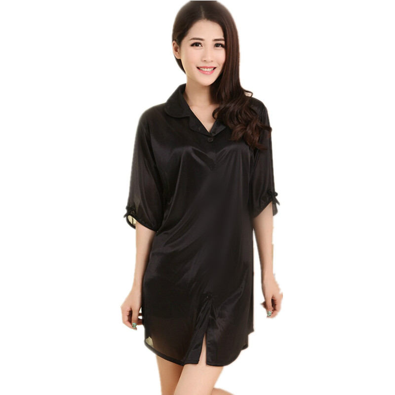 Hot Sale Female Rayon Sleepshirt Bathrobe Women Sleepwear Mini Nightgown Solid Color Short Nightwear Robe Size