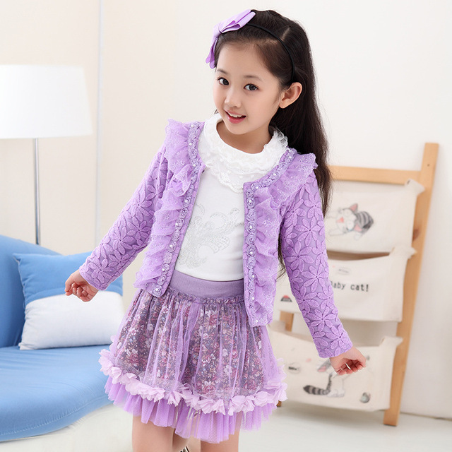 Fashion Children Clothing Floral Dress Suit For Kids Outfits Sets Girl 3 Piece Princess Lace Ruffle Cardigan Tops Skirts Suits