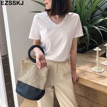chic casual 95% Cotton T Shirt Short Sleeve Women Summer Basic v-neck T shirt Plus Size 3XL Candy Color T-shirt Tee Female(China)