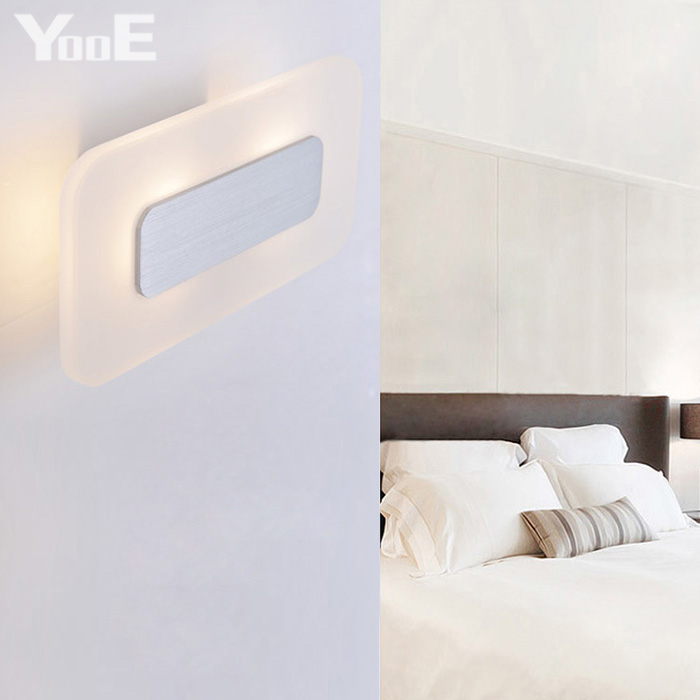 Indoor LED Wall Lamp  9W  AC110V/220V Rectangular Acrylic Lighting Sconce bedroom Warm White Decorate Wall Lights Free shipping купить