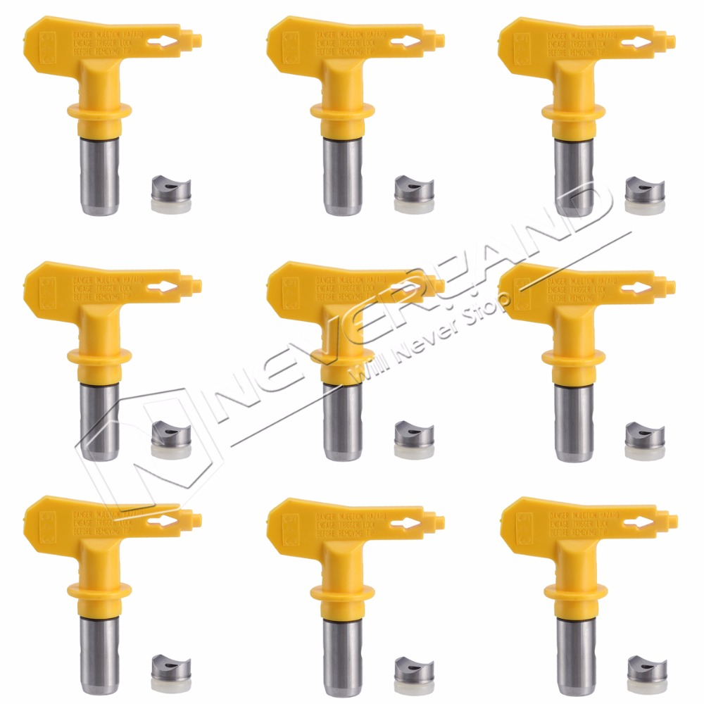 Yellow Universal Airless Paint Spray Sprayer Tip For Graco Titan Wagner Nozzle Tool Kit 217 311 315 415 427 high pressure 3600psi airless paint spray gun for titan wagner graco sprayer power tools