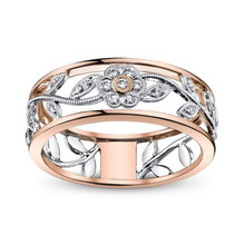 все цены на Vintage New Fashion Crystal CZ Stone Rose Gold Color Flower Leaves Wedding Rings For Woman Ring Jewelry Gift онлайн
