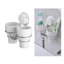 1 PC Stainless Steel Double Cup Holder Wall Mounted Toothbrush Tumbler Rack Ceramic Cups Holders For Home Bathroom Hotel все цены