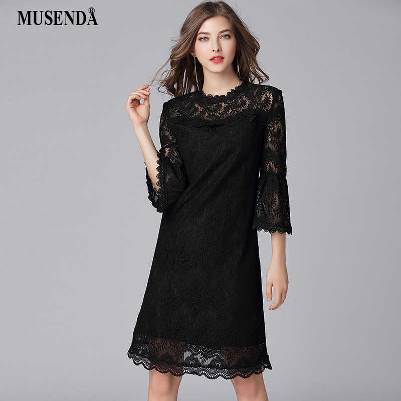 MUSENDA Plus Size Women Hollow Out Lace 3 4 Flare Sleeve Dress New 2018  Spring 534acfcab261