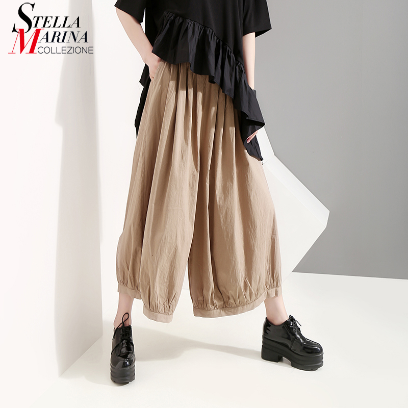 New 2019 Korean Style Women Solid Khaki Long Pleated   Wide     Legs     Pants   Ankle Length Elastic Waist Lady Stylish   Pants   Trousers 5137