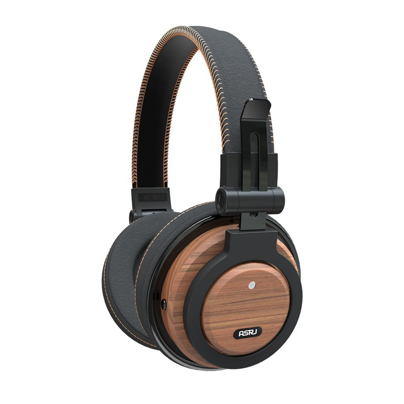 Headphones ASRJ WT 01 Detachable Cable Eco Friendly Over Ear Foldable Wireless Genuine Wood Mic Headphone Bluetooth V4.1 Headset